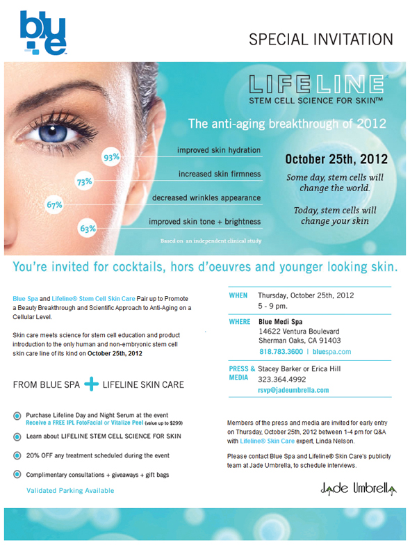 Press & Media Invite for Lifeline Stem Cell Skin Care Blue Spa Event on 10/25/12