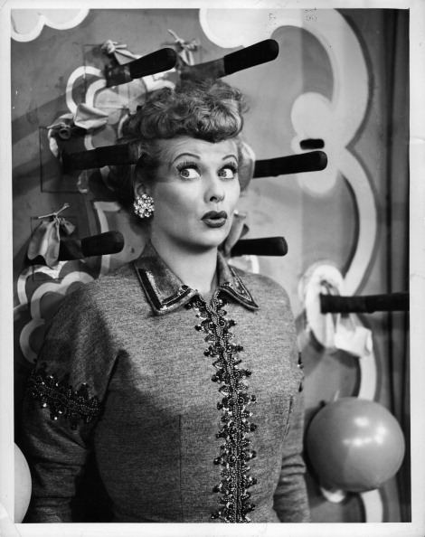 Lucille Ball has knives thrown at her in the television series 'I Love Lucy', 1951. (Photo by CBS/Getty Images)